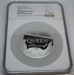 Queen Music Legends 5 Oz Silver Coin 10 Pounds United Kingdom 2020 Great Britain
