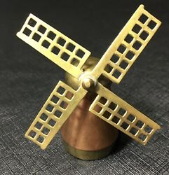 Vintage Copper And Brass Miniature Dutch Windmill Desk Toy Doll House Prop