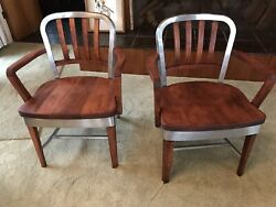 Shaw Walker Pair Armchair Chair 1940andrsquos Deco Machine Age Aluminum And Wood