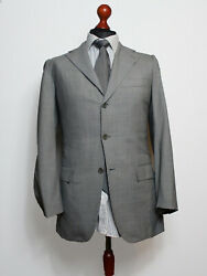 Kiton Recent Checked Light Gray 2-btn 135 Micron Wool Suit Size 47