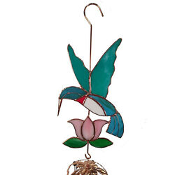 Handmade Stained Glass Hummingbird Wind Chime Large