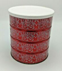 Vintage Folgers Coffee Tin Can With Lid 7'' Retro Red And White Holiday Design