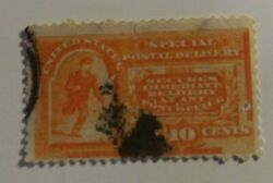 Us Scott's E3, Used. Ten Cent Orange. Special Delivery. Sal's Stamp Store.