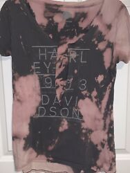Harley Davidson Small Women's Ripped Distressed Destroyed T Shirt Pink $15.99