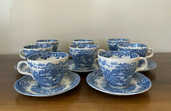 Salem China Co. Olde Staffordshire English Village Blue Cup And Saucer Set Of 8