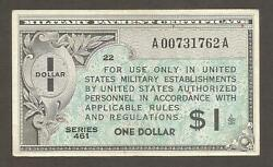 Usa Military Payment Certificate 1 Dollar 1946 Series 461 Ef P-m5 L-b1005a