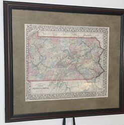1870 S.augustus Mitchell,pennsylvania State Antique County Map,coa,framed Matted