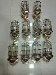 Vintage Old Antique Solid Bronze Ship Salvage Wall Sconce Light Fixture 10 Piece