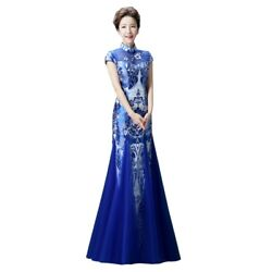 Blue And White Porcelain Cheongsam Womens Mermaid Dress Evening Party Cocktail L