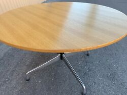 """Mid Century Herman Miller Rare Oak 48"""" Eames Round Dining Table Authentic"""