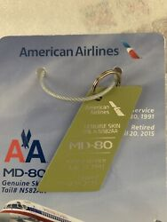 American Airlines Md80 Genuine Skin Tail N455aa 1988-2015 Commemorative Keychain