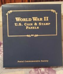 Rare Postal Commemorative Society -wwii U.s. Silver Coin And Stamp Panels Complete