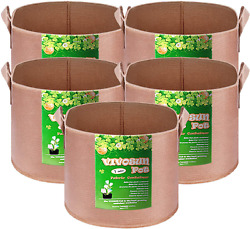 Vivosun 5-pack 130 Gallons Grow Bags Heavy Duty Thickened Nonwoven Fabric Pots