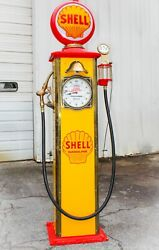 Vintage Reproduction Clock-face Shell Bowser Gas Pump. Time Sentry Model 53