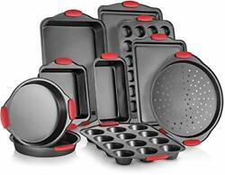 10-piece Nonstick Carbon Steel Bakeware Set With Red Silicone Handles |