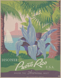 Discover Puerto Rico U.s.a Vintage Travel Poster