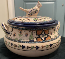 """Persian Glazed Ceramic Serving Bowl W/lid. Hand Painted Approx 8""""h X 8"""" Diameter"""