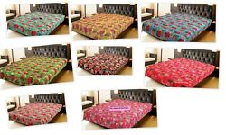Indian Handmade Queen-size Cotton Kantha Quilt Throw Bed Cover Bedding Blanket