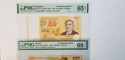 A Set Of Singapore/brunei 20 2007 Commemorative Banknotes Pmg 68 And 65epq