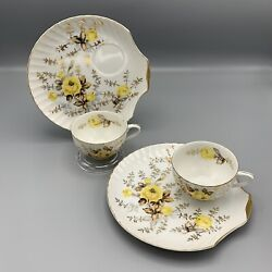 Vintage Yellow Rose China Snack Set 2 Cups And 2 Plates Shell Shaped Plate Japan