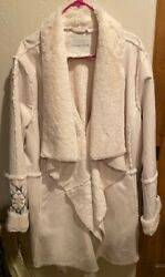 Coldwater Creek Ladies Faux Shearling Coat W/ Embroidery Size 1x
