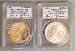 2001-d And P Of American Buffalo, Pcgs Ms 69 And Pr 69 Dcam Coin Set