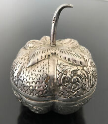 Vintage T90 Sterling Silver Repousse Fruit Shaped Box Cambodian 75grams