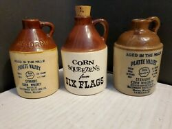 Vintage Lot 3 Different Straight Corn Whiskey Jugs 1953 Platte Valley Six Flags