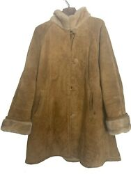 Subzero Women's Leather Suede Coat Light Brown Faux Shearling Lined Size L-xl