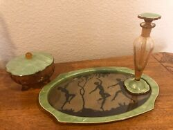 Antique Celluloid Vanity Tray Set With Glass Perfume Bottle And Glass Jar