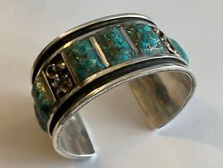 Vintage Zuni Silver And Turquoise Cuff Bracelet By Alexander A. Panteah