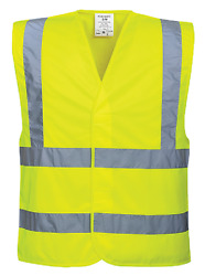 100 Pk Portwest Hi-vis Two Band And Brace Safety Vest Size S/m-6x/7x C470 Yel/org