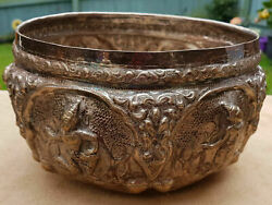 Rare Antique 19th Century Siam Burmese Solid Silver Bowl Signed 589 G.