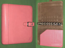 Desk 1.0 Pink Ribbon Leather Day Timer Planner Binder Classic Franklin Covey 52