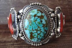 Navajo Indian Traditional Sterling Silver Turquoise And Coral Bracelet - Tom ...