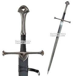 46 Long Two Handed Knights Battle Long Sword W/ Scabbard Medieval Costume Larp