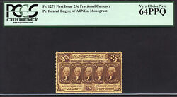 Fr 1279 25¢ First Issue Fractional Currency Pcgs 64 Ppq