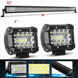 52inch Led Light Bar 300w Combo+2x 4'' Pods Suv 4x4 Boat Fits Jeep Truck Suv 4wd