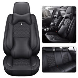 Luxury Black Car Seat Covers 5-seats Front Rear Pu Leather Cushions Auto Suv Set
