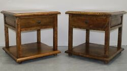 Pair Of Stylish Mango Wood Side/occasional Tables With Single Drawer And Shelf