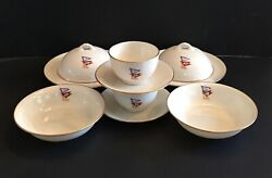 10 Pc Antique Lenox Breakfast Set 2 Ea Covered Muffin Dish Bowl Cup Saucer Flags