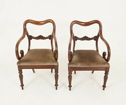 Pair Victorian Mahogany Antique Arm Dining Library Chairs Scotland 1840 B2473