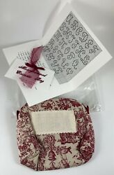 The JBW Collection Red Toile Monogrammed Cosmetic Bag To Cross Stitch W Chart $25.00