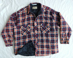 Red Blue Plaid Insulated Quilted Lined Flannel Work Shirt - Xl Mens