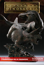 Sideshow Faux Bronze T-rex Vs Triceratops Diorama Mint Only 35 Made Rare