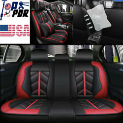 Us Pu Leather Car Seat Covers Front Rear Full Set Protect Cushion Waterproof Set