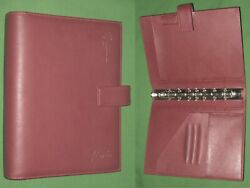 Desk 1.0 Red S Leather Day Timer Planner Flavia Binder Classic Franklin Covey