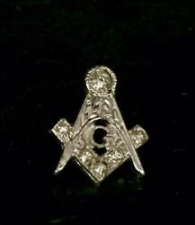Free Mason Sterling Silver And White Stone Vintage Screw Back Lapel Pin Tie Tack