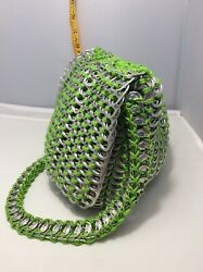 Vintage 70s Handmade Aluminum Can Pull Tabs Chainmail Purse Shoulder Bag 202