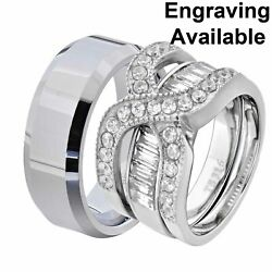 His And Hers Stainless Steel Round Cz Wedding Ring Sets Tungsten Men Band Yr